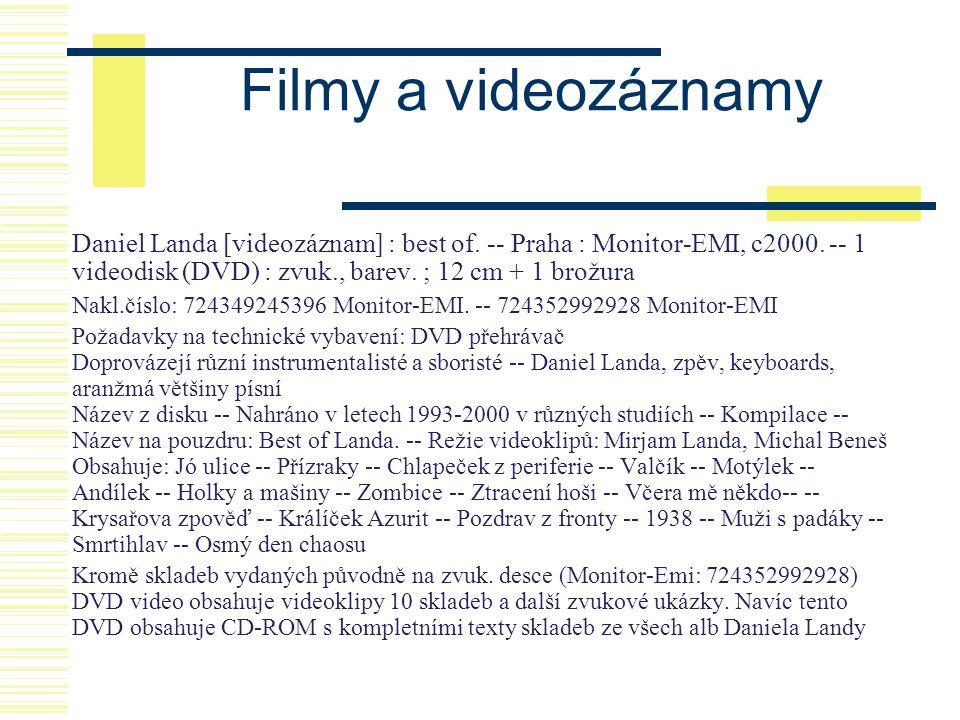 Filmy a videozáznamy Daniel Landa [videozáznam] : best of. -- Praha : Monitor-EMI, c2000. -- 1 videodisk (DVD) : zvuk., barev. ; 12 cm + 1 brožura.